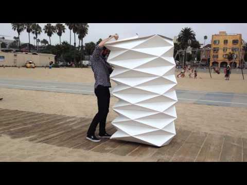 Closing a Cardborigami on Santa Monica Beach