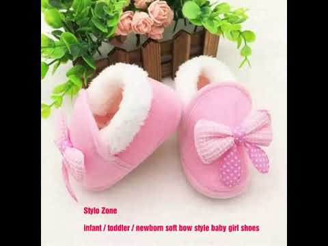 newborn / infant / toddler baby girl bow style soft shoes