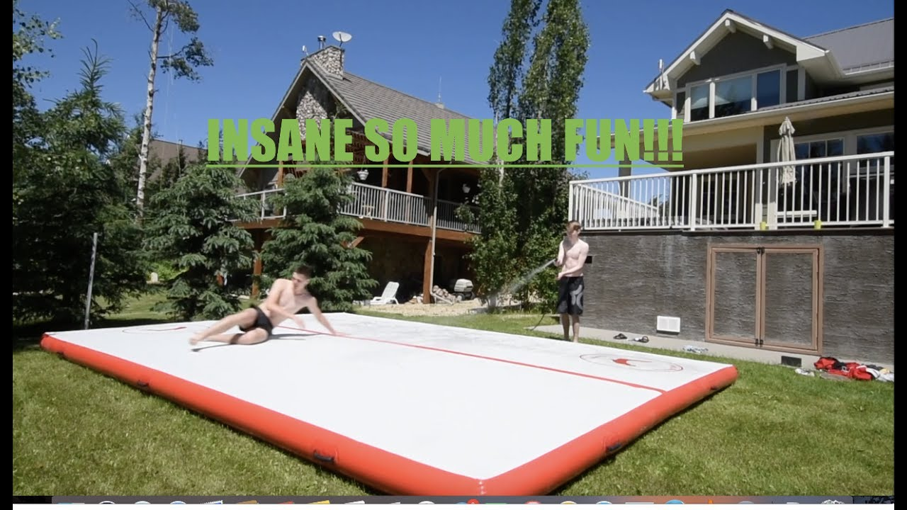 insane airtrack slip and slide youtube