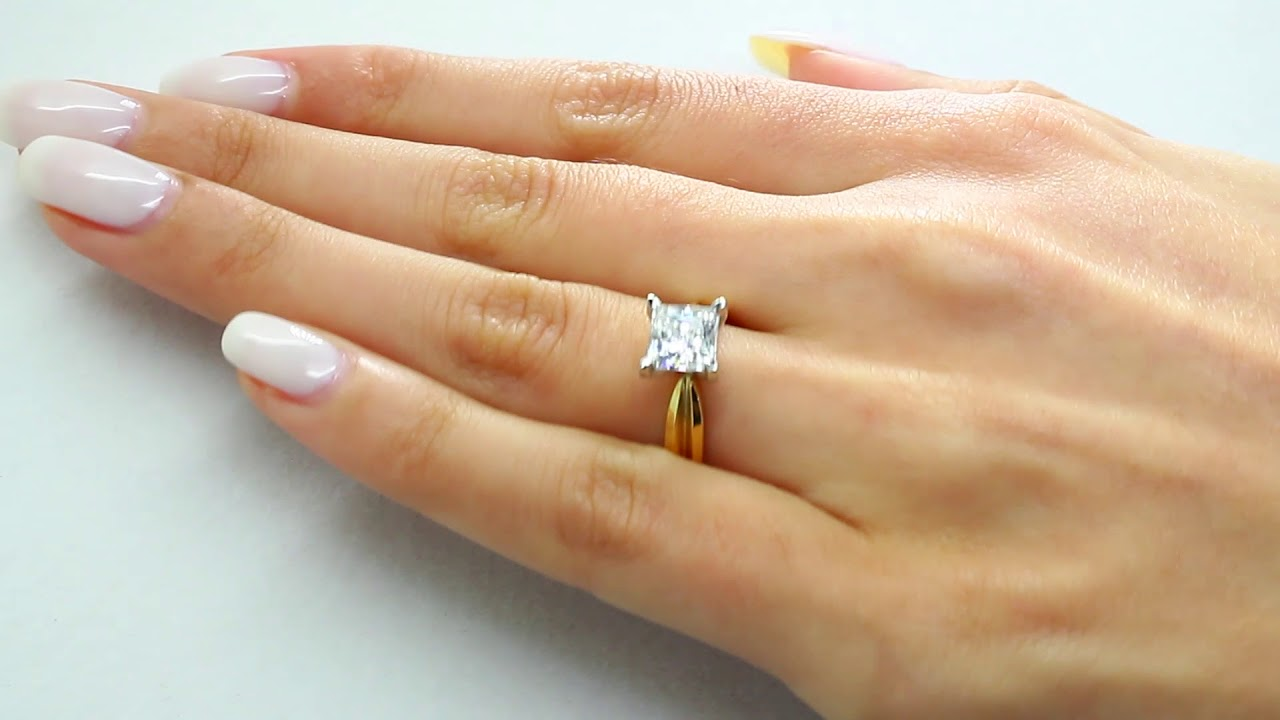 Solitaire Princess Cut Diamond Tapered Shank Engagement Ring In Yellow Gold Mvs0006 Y Youtube