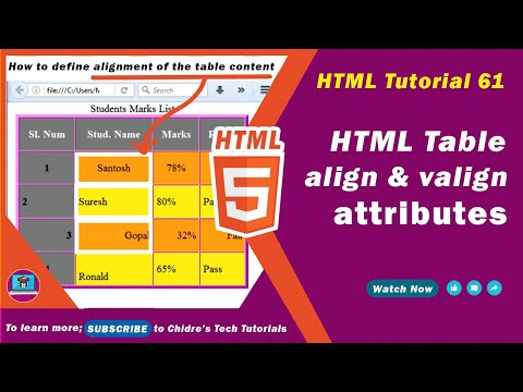 HTML Video Tutorial - 61 - Html Align And Html Valign Attribute