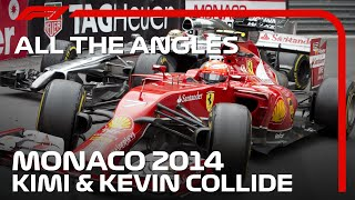 Raikkonen and Magnussen's Crazy Collision - All The Angles | 2014 Monaco Grand Prix
