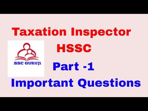 Taxation Inspector  Excise Inspector    HSSC important questions
