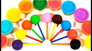 Learn Colors with 9 Color Play Doh Lollipops and Farm Animals Molds | Figurine Roblox Surprise Eggs