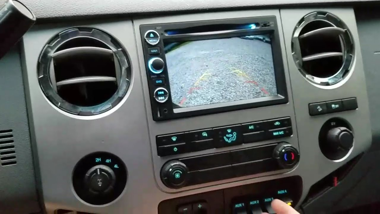 2011 - 2016 ford f250 super duty android navigation and tailgate backup  camera system installation