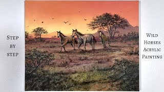 Wild Horses in a Field STEP by STEP Acrylic Painting (ColorByFeliks)