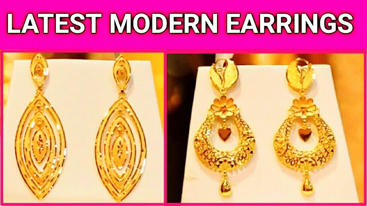 Unique Modern 22k Gold Earrings Latest Jewellery Designs