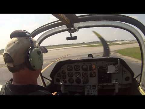 RAF Scottish Aviation Bulldog T.1     Taxi, takeoff and landing at Peach State Airfield (Atlanta)