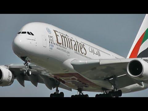 CLOSE-UP Landings at London Heathrow Airport, 1 HOUR long (RW27L)