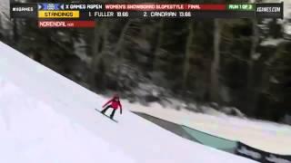X Games Aspen 2013 Silje Norendal Run 1 Women s Snowboard Slopestyle