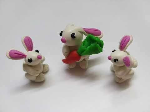 Как слепить Зайку 🐇 из мастики, пластилина, полимерной глины (Cake/Fondant Topper - Bunny).
