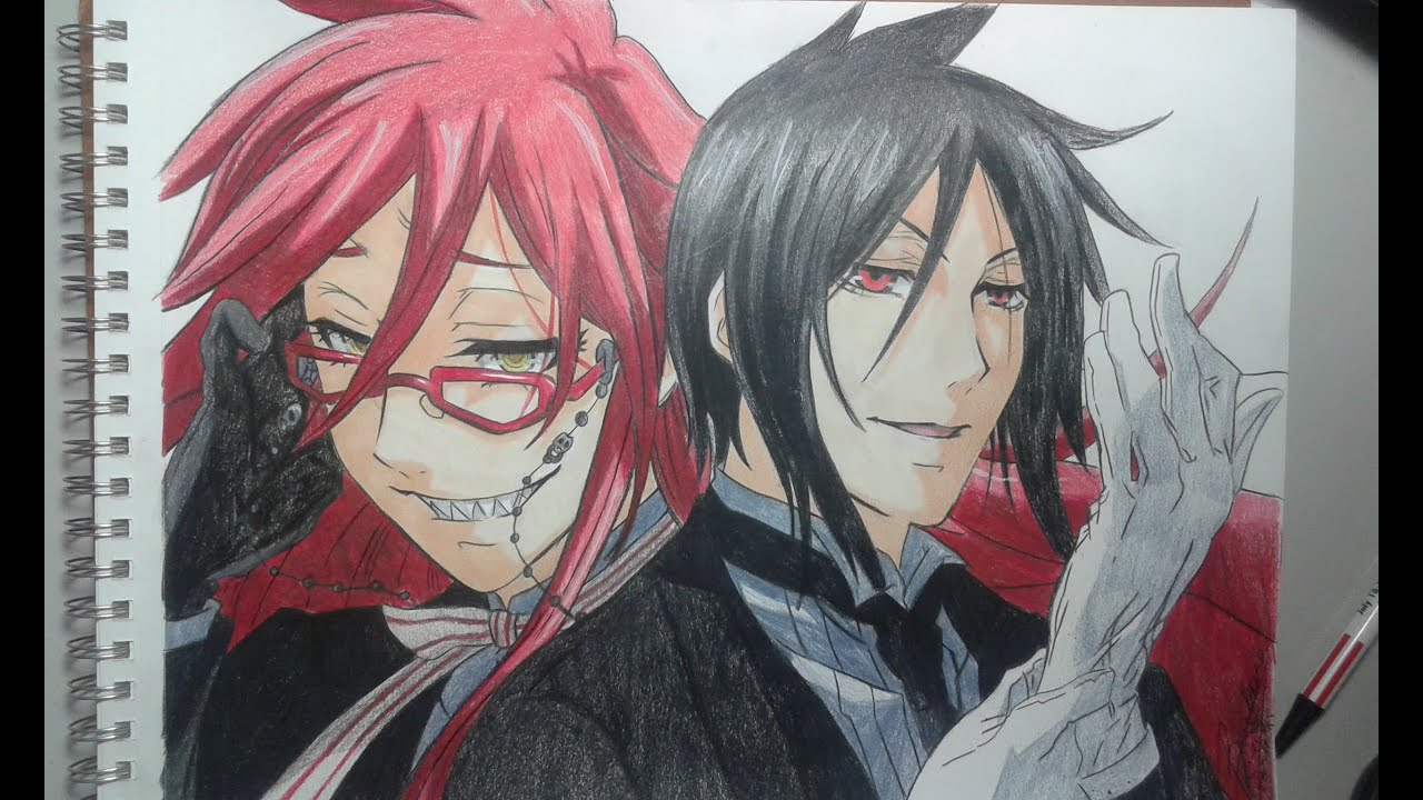speed drawing grell sutcliff and sebastian youtube