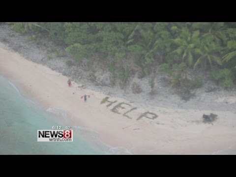 3 men stranded wave for help on Pacific island