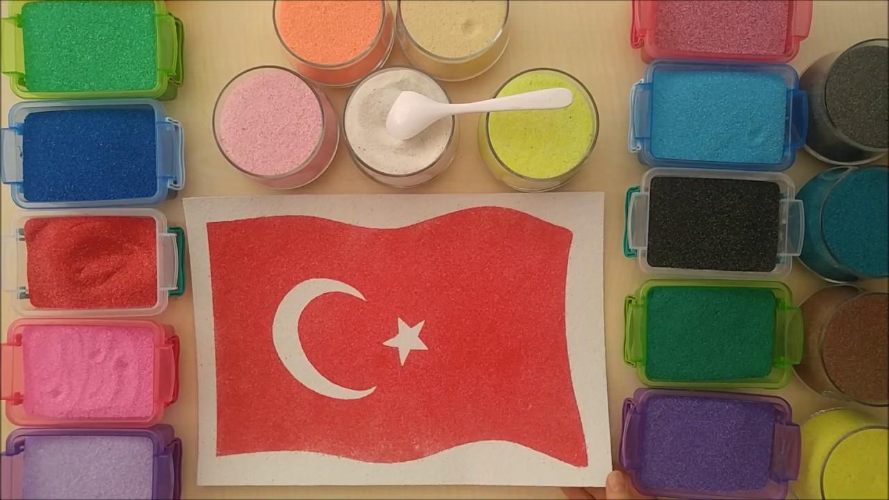 Türk Bayrağı Kum Boyama Yapımı Youtube