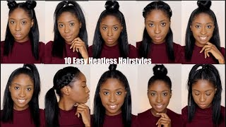 10 Simple Quick and Easy Heatless Hairstyles For Straight Natural Hair