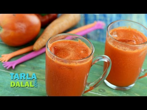 Carrot and Red Pepper Juice (Healthy Juice) by Tarla Dalal