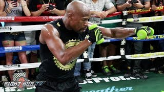40 YEAR OLD FLOYD MAYWEATHER LOOKING SWOLE! SHADOW BOXES WITH PRECISION AT MEDIA WORKOUT
