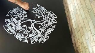 Simple and creative bells and lotus rangoli...Easy rangoli design..9 to 3 dots