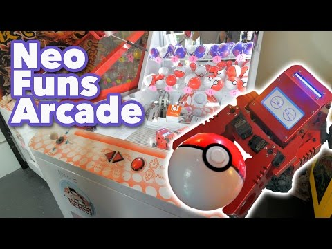 Robot Pokemon arcade game and claw machines at NeoFuns Arcade! | The Crane Couple