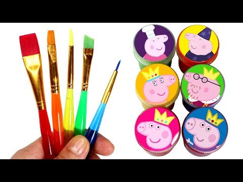 Peppa Pig Royal Family Painting Learn Colors with Princess Peppa George Daddy Mummy Granny Grandpa
