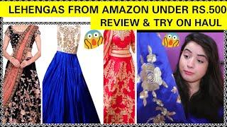 AMAZON LEHENGA UNDER RS.500|AMAZON LEHENGA TRY ON HAUL,REVIEW|AMAZON LEHENGA UNBOXING|SHALLY CORNER