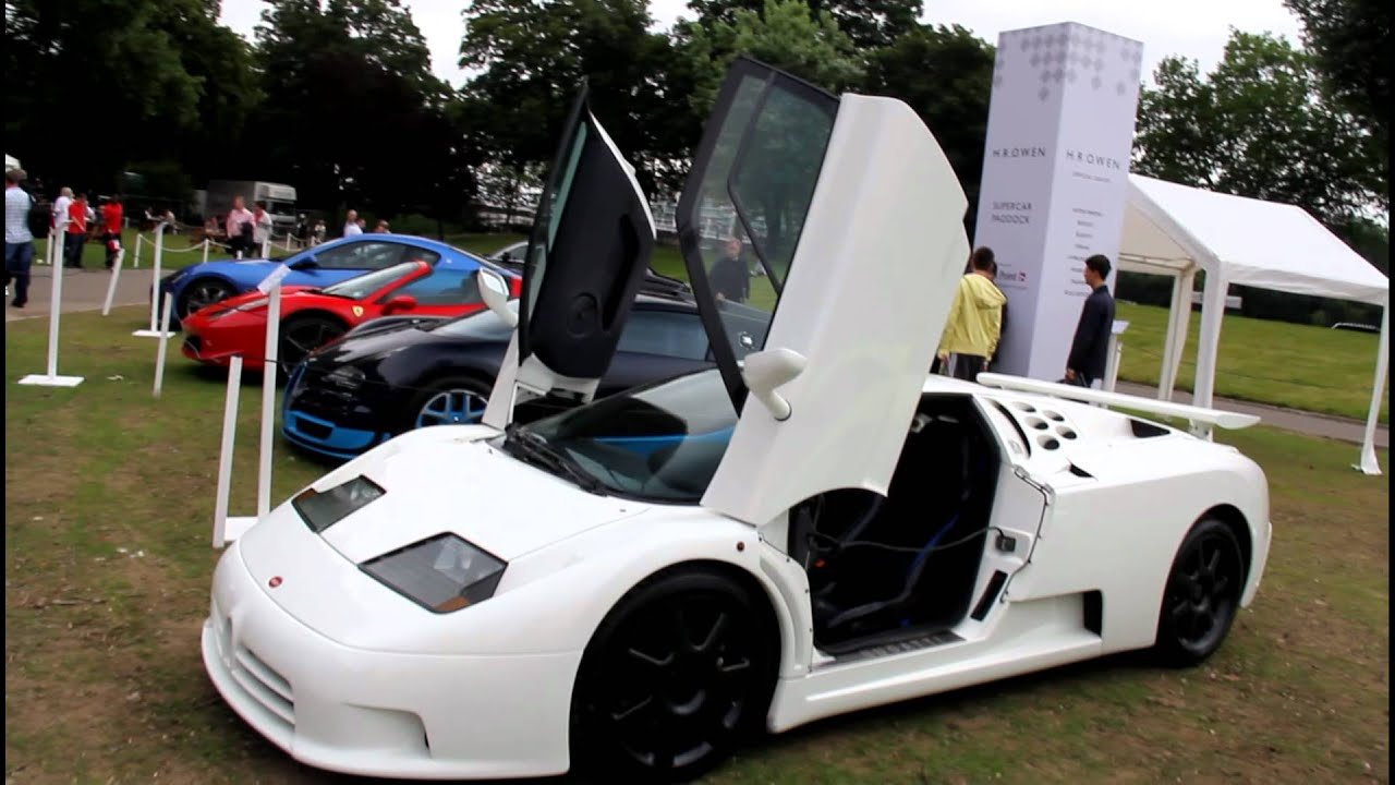Supercars in London 2012 Bugatti Veyron Grand Sport Vitesse blue carbon and EB110 SS white ...