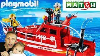 Bateau de pompiers PLAYMOBIL 3128 - Fire Rescue City Life - Supermarchés MATCH !