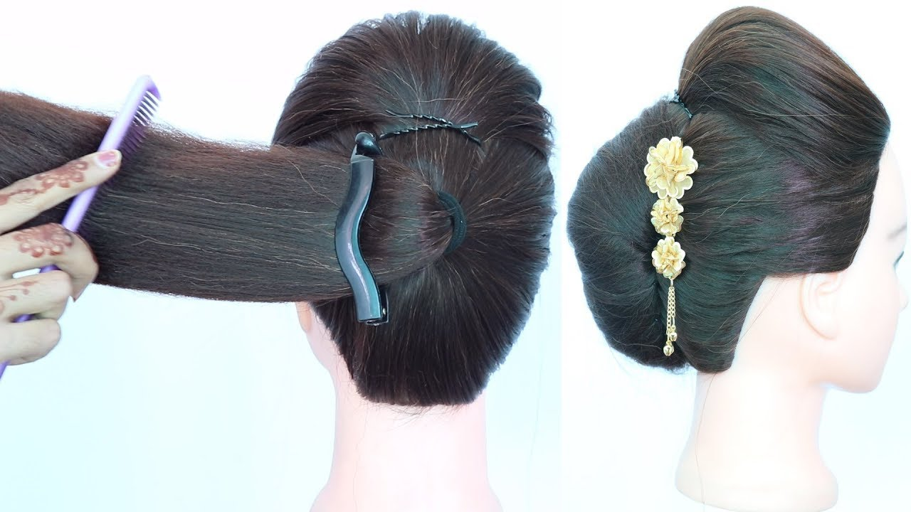 easy french roll hairstyle using banana clutcher || french twist || french bun || summer ...