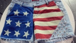 DIY Customização shorts com bandeira do EUA - DIY shorts with the US flag