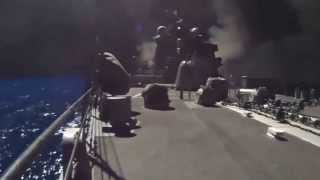 Сирия запуск ракет Томагавк с корабля ВМФ США в Красном Море в сторону Сирии  23 09 2014