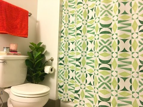 How to Make a DIY Shower Curtain with DIY Modern Tribal Stencil Patterns
