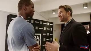Eddie Hearn talks with Nkosi Solomon after shock debut defeat