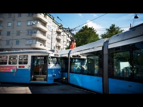 Tram crash: Two trams collide in Gothenburg, Sweden, injuring eight