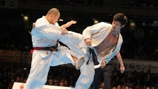 山田一仁vs島本雄二 The 42th All Japan Open Karate Tournament Octofi...
