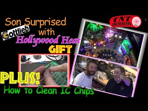 #1296 SON Surprised with HOLLYWOOD HEAT Pinball Gift! GALAGA Cabaret Video Game! TNT Amusements