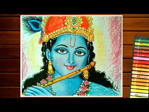 KRISHNA DRAWING EASY||HOW TO DRAW LORD KRISHNA BY PASTEL COLOR