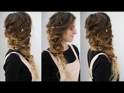 Side Swept Curly Braided Style