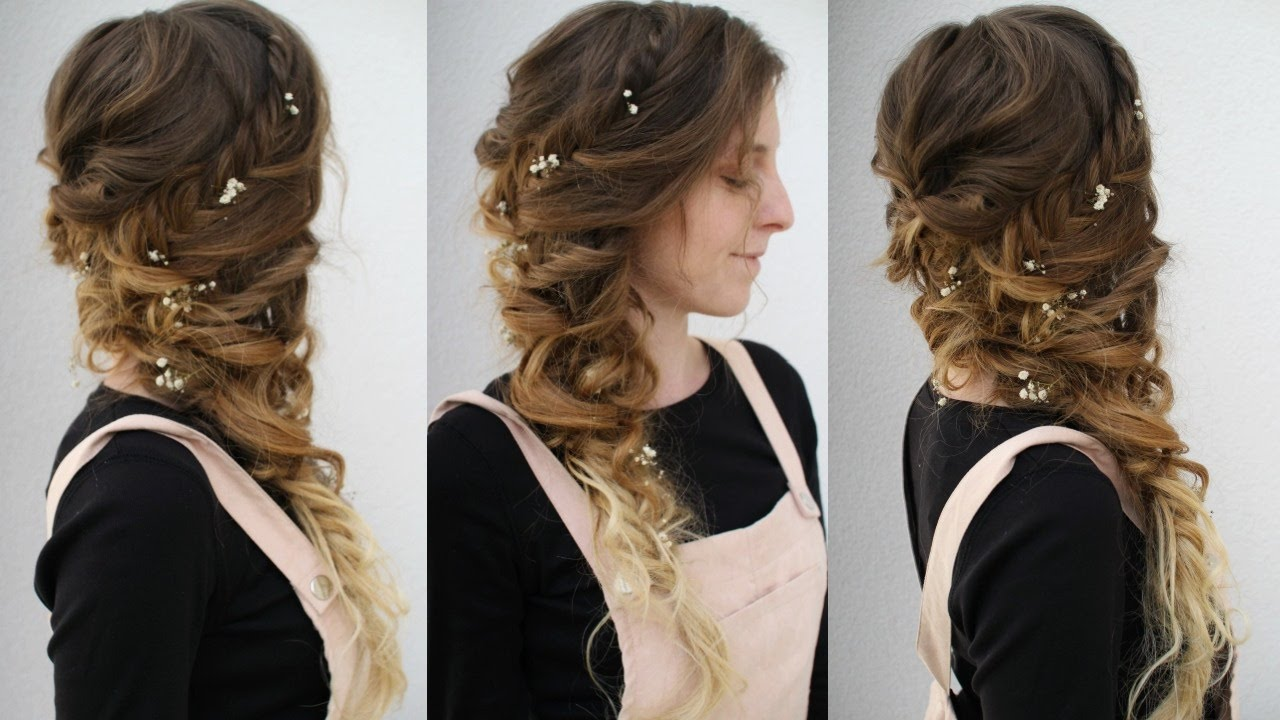 Side Swept Curly Braided Style Cascading Hairstyles