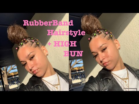 RUBBER BAND HAIRSTYLE + HIGH BUN thumbnail