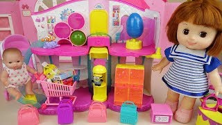 Surprise eggs shop and baby doll toys mart play