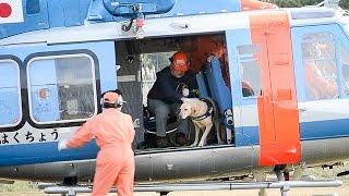 警察犬をヘリコプターで運ぶための訓練が10月21日、青森市の県警警...