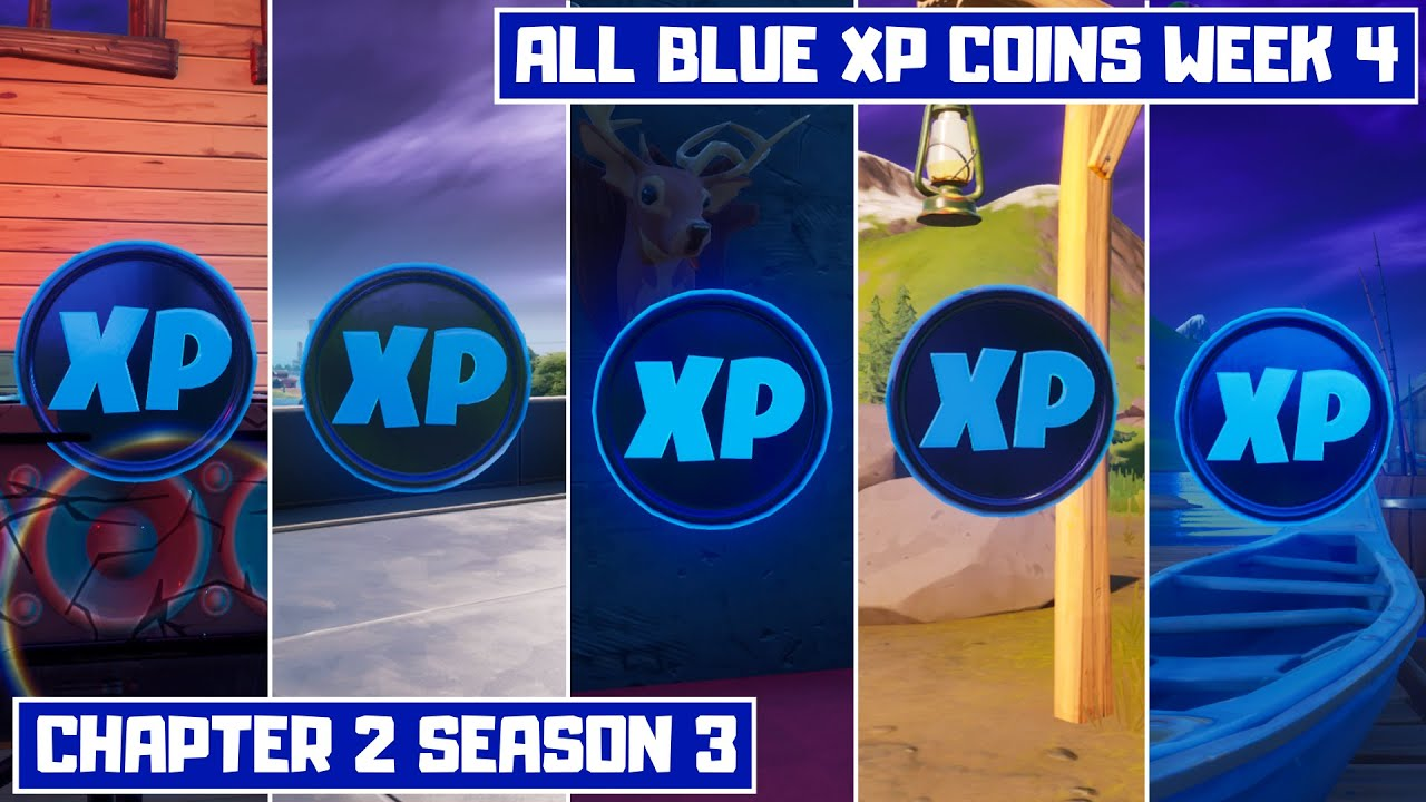 All 5 Blue XP Coins Locations Week 4! - Secret XP Coins Fortnite Chapter 2 Season 3