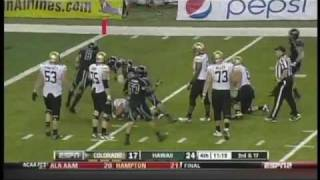 Vaughn Meatoga sacks Tyler Hansen Colorado vs. Hawaii 2011
