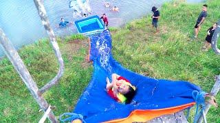 Làm Máng Trượt Nước Siêu Cao ❤ Biến Ao Hồ Thành Công Viên Nước - Trang Vlog