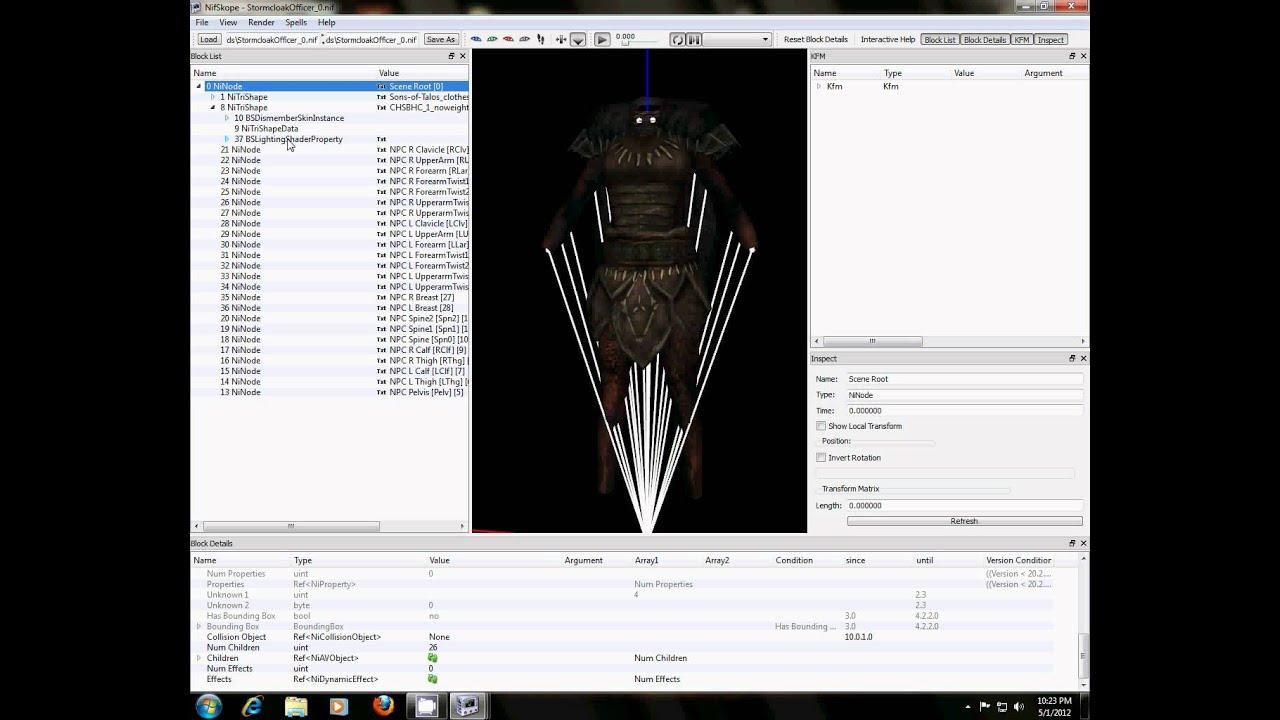 Skyrim Armor Modding: Nifskope (Final step)