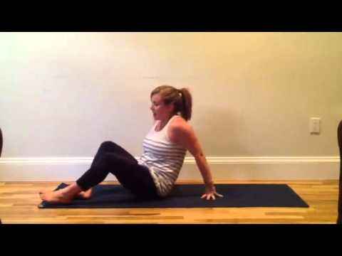Forrest yoga wrist stretches, neck release, elbow to knee and oblique sequences