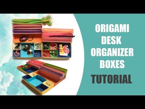 Origami Desk Organizer Boxes Tutorial