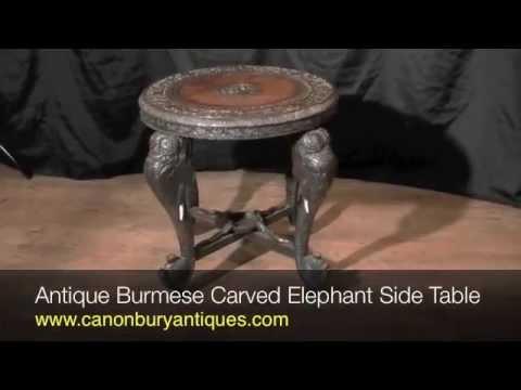 Antique Burmese Carved Elephant Side Table