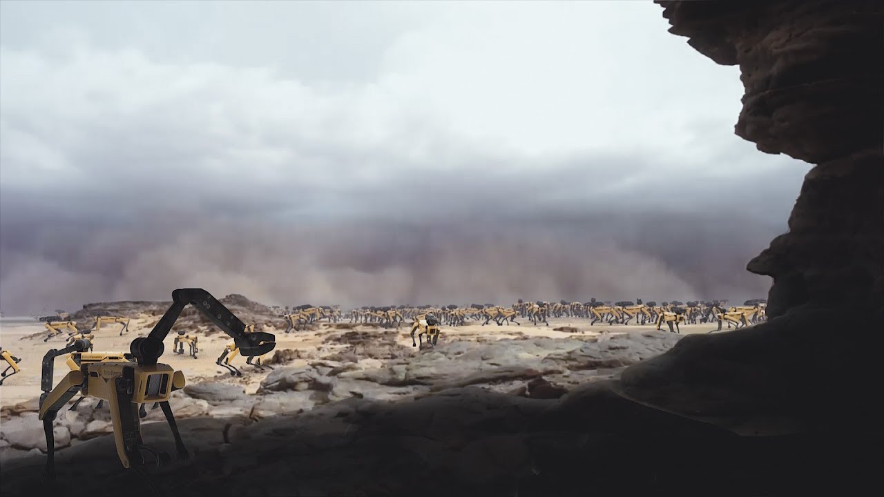 Картинки по запросу Planet Earth: A migrating herd of SpotMinis face challenges