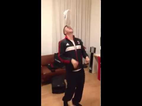 Stephan El Shaarawy dancing with shoe on head !!